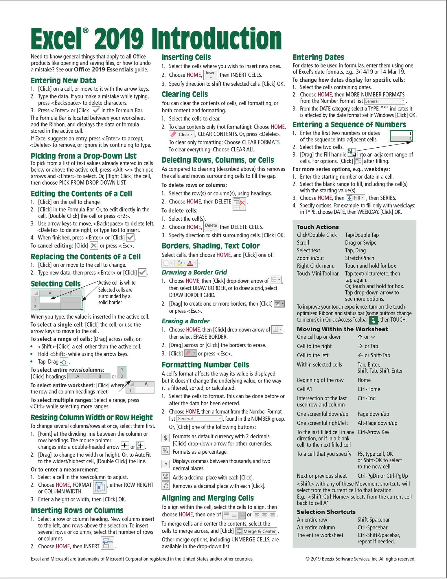 Microsoft Excel 20 Introduction Quick Reference Guide   Windows ...