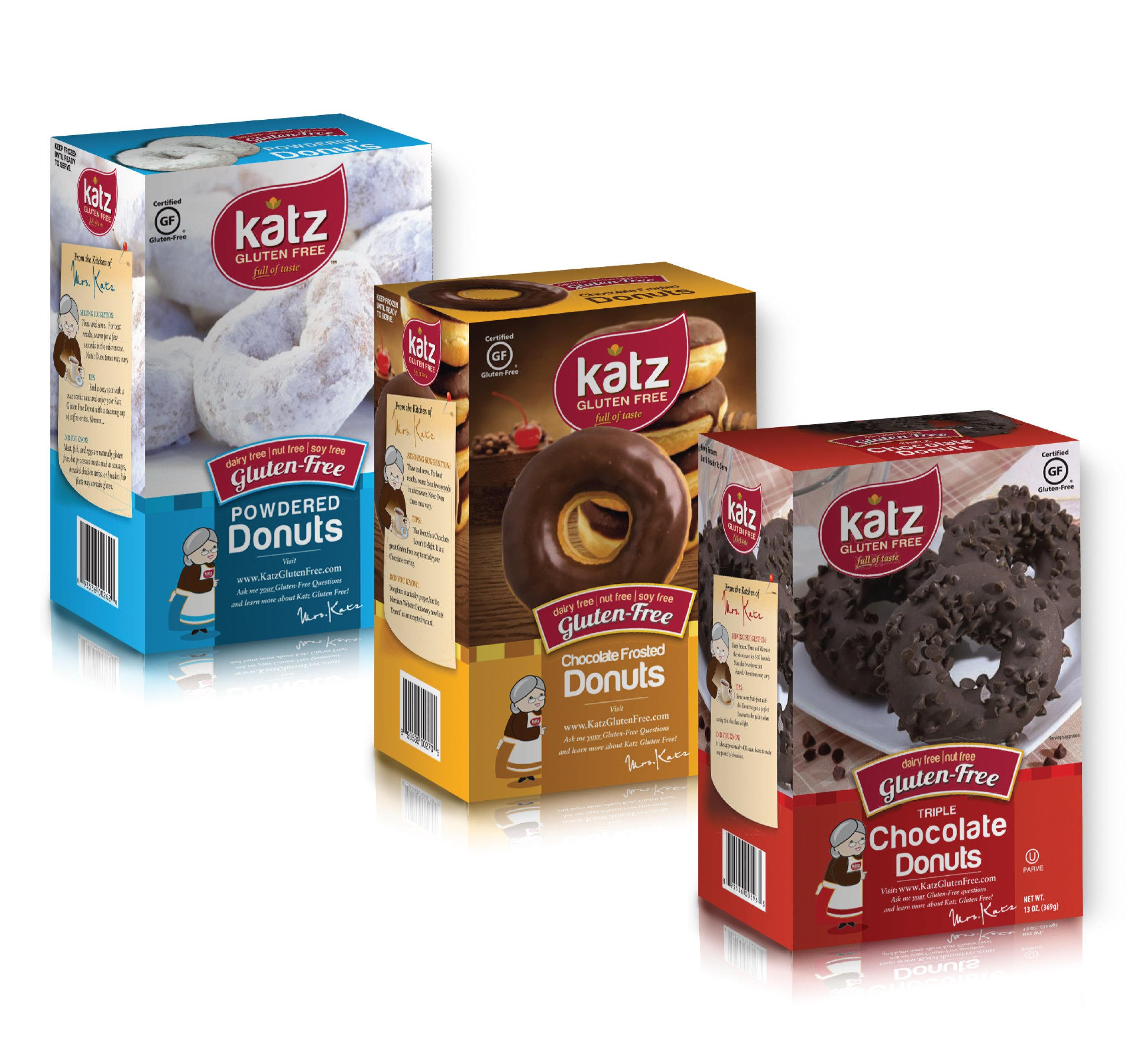 Katz Gluten Free Donut Variety Pack   1 Powdered, 1 Chocolate Frosted, 1 Triple Chocolate   Dairy, Nut, Soy and Gluten Free   Kosher (1 Pack of each) by Katz Gluten Free