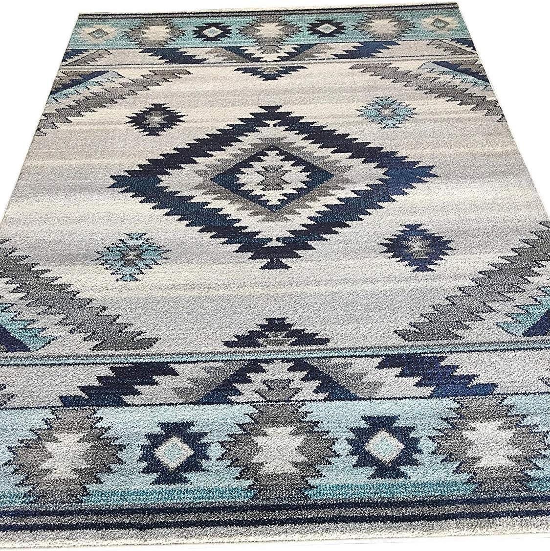 South West Native American Indian Area Rug Turquoise Purple Beige Blue Brown Bone Design 1033 7 Feet 9 Inch X 10 Feet