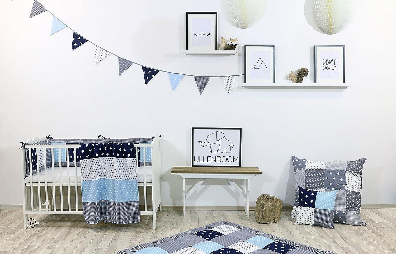 auch als Stubenwagen-, Kinderwagendecke, Dekokissen geeignet, Motiv: Sterne, Patchwork ULLENBOOM /® Baby Bettdeckenbezug 80x80 Blau Hellblau Grau