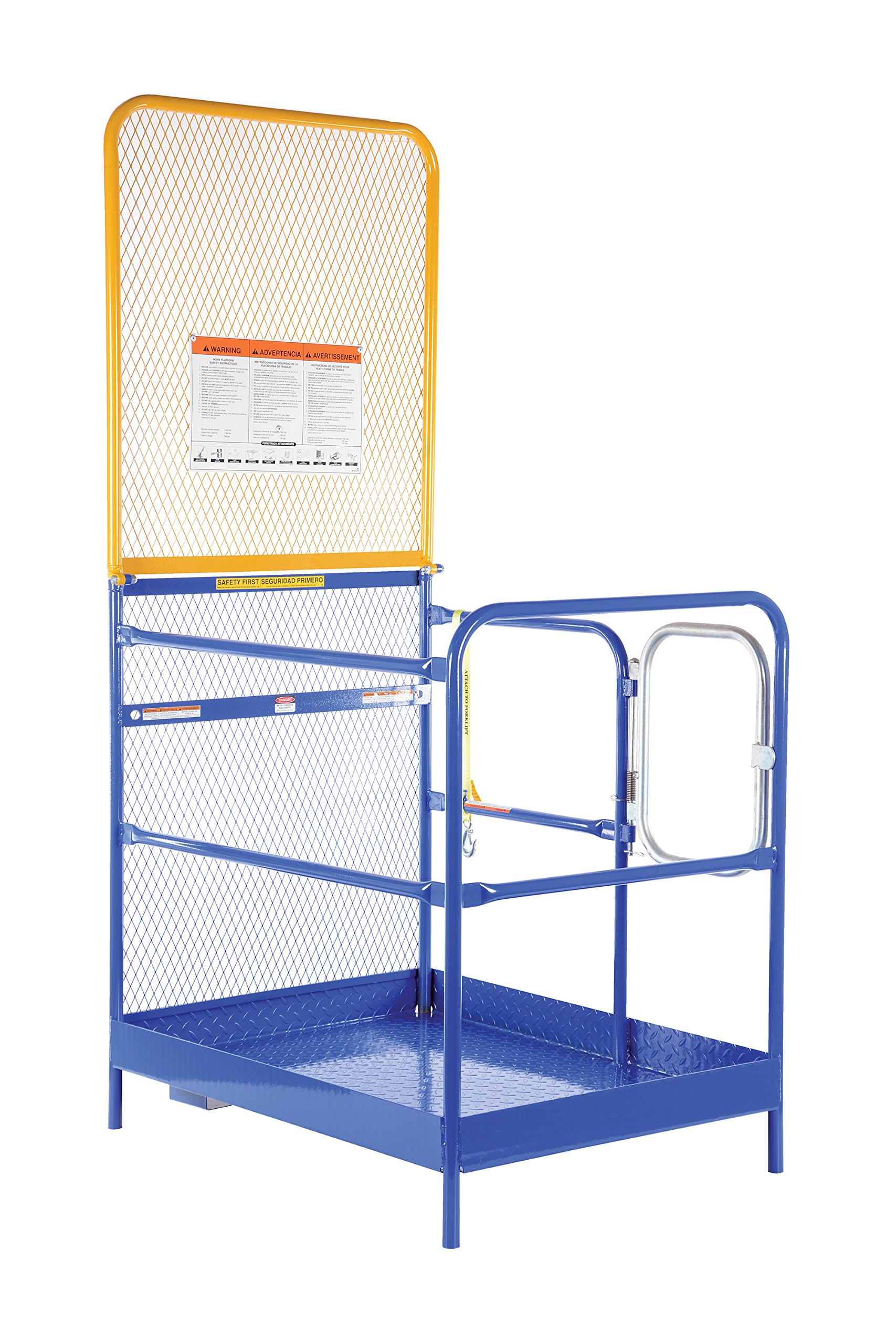 Vestil WP-3636-84B Steel Work Platform, 1000 lb Capacity, 36'' x 36'' with 84'' Back, Powder Coat Blue