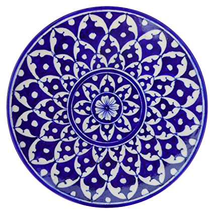 Aditya Blue Art Pottery Ceramic Decorative Wall Hanging Handmade Plate (20 cm x 20 cm x 3 cm, Blue) Wall Decor & Hangings at amazon