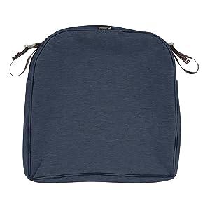 Classic Accessories Montlake Patio Seat Cushion Slip Cover, Heather Indigo, 18x18x2 Contoured