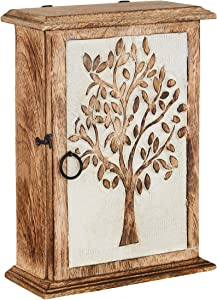 Key Holder for Wall Decorative | Wall Mount Tree of Life Engraved Key Holder Organizer | Wood Key Holder for Wall Rustic | Little Wall Mount Cabinet Storage to Organise Your Keys with Key Holder