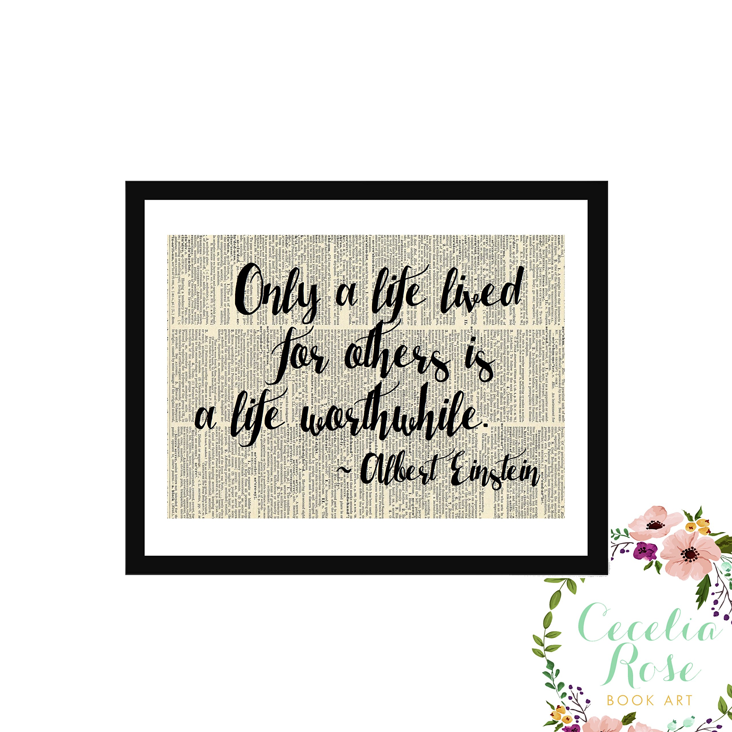 Only A Life Lived For Others Is A Life Worthwhile Albert Einstein Typography Farmhouse Childrens Vintage Book Page Unframed 5x7