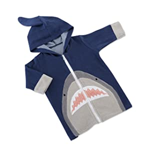 Baby Aspen Shark Hooded Beach Zip Up | Cute & Ultra Soft 100% Terry Cotton Towel Hoodie