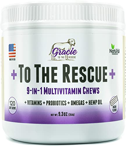Gracie To The Rescue Multivitamin for Dogs chewable - 120 ct - Essential Dog Vitamins with Digestive Enzymes Probiotics, Omega-3, Colostrum and Hemp Oil, Supports Vision, Joints, Immune System