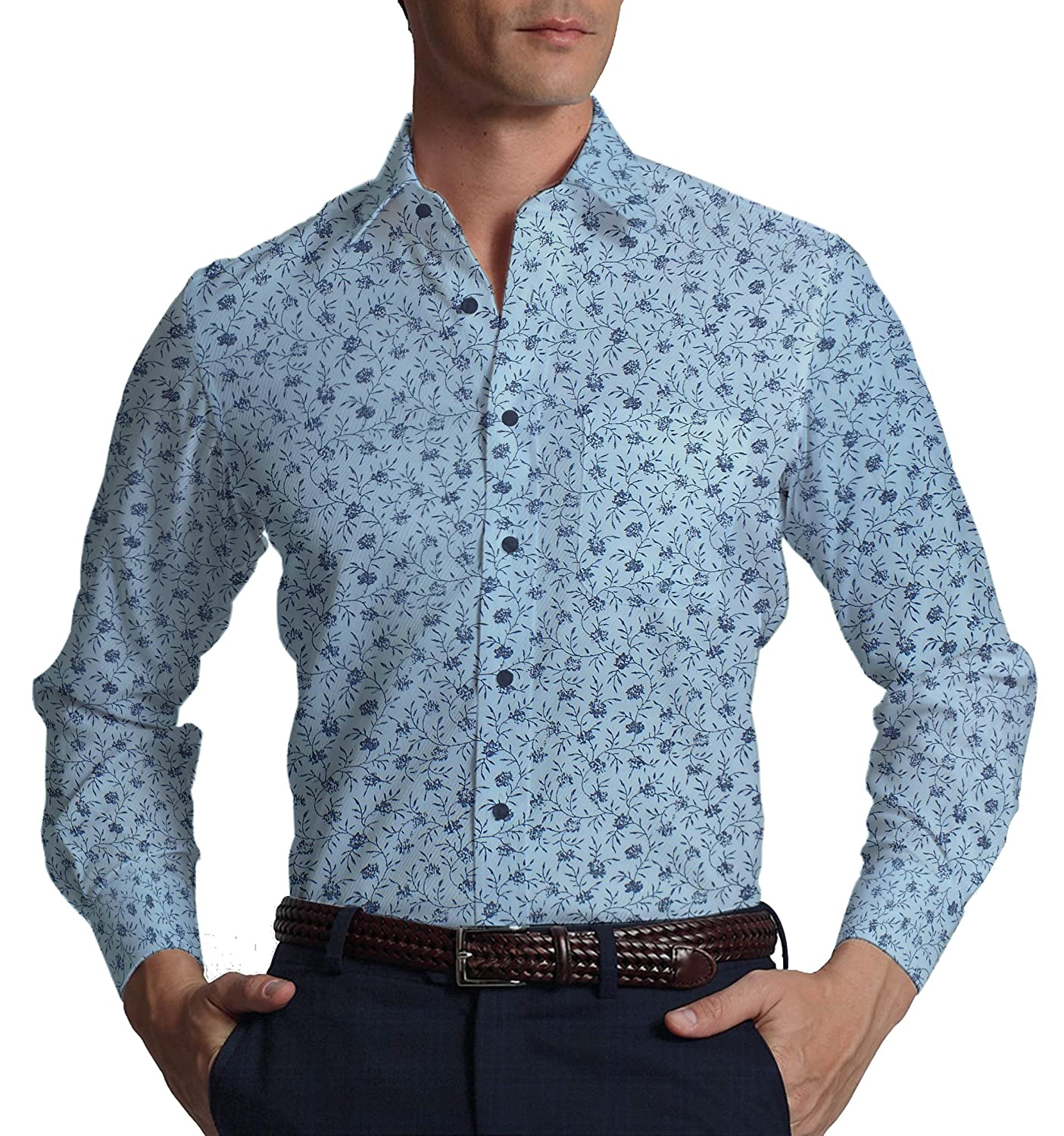 ccc9def40 Raymond Men s Polyester Viscose Unstitched Checks Trouser with Exquisite  Sky Blue Floral Printed Shirt Fabric(Blue)  Amazon.in  Clothing    Accessories