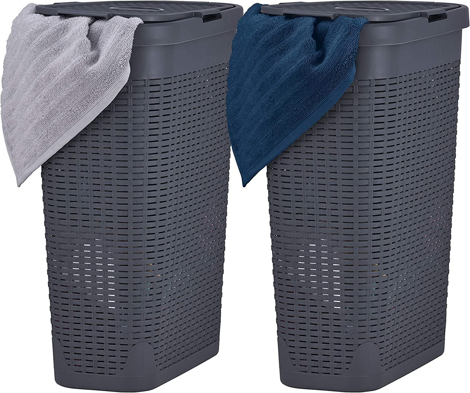 Superio Slim Laundry Hamper White 40 Liter (2 Pack) Durable Plastic Hamper Basket with Lid, Durable Washing Bin 1.15 Bushel, Narrow and Tall Basket Bathroom Storage Dirty Cloths Easy Use (Grey)