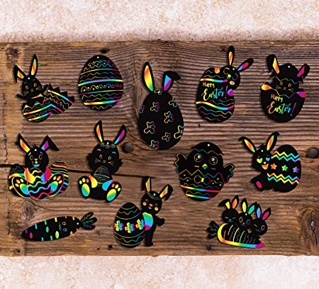 Yaomiao 24 Pieces Easter Egg Scratch Art for Easter Birthday Party Decoration with Scratch Tool and Colorful Ribbon