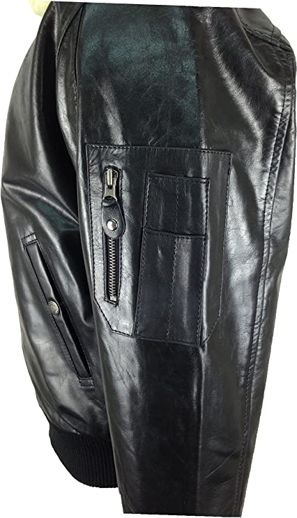 UNICORN Mens Airforce Aviator Pilot Real Leather Jacket Black (Real fur collar) #P1 at Amazon Mens Clothing store:
