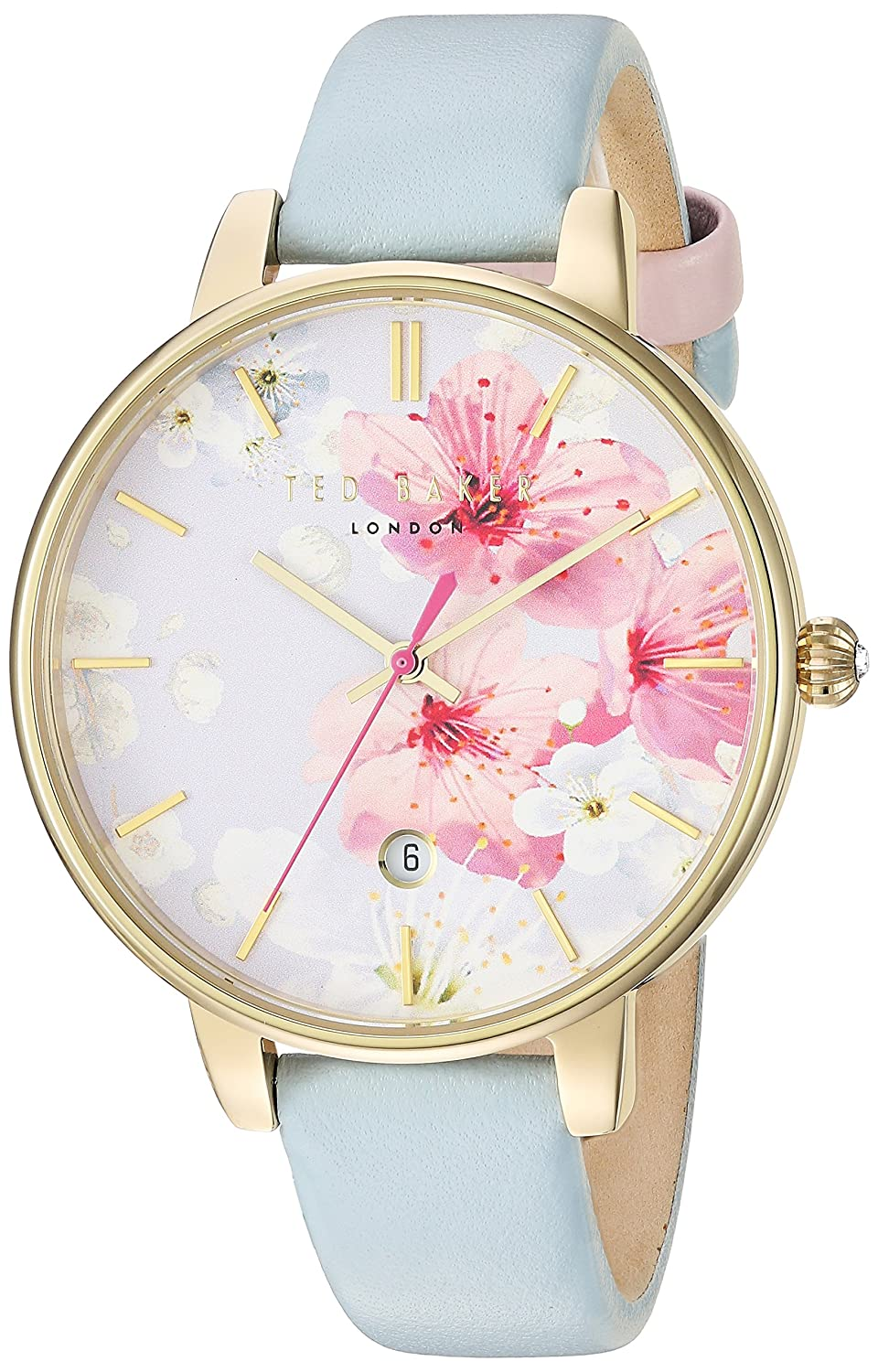 TED BAKER- LADIES KATE GOLD PLATED PALE BLUE STRAP WATCH
