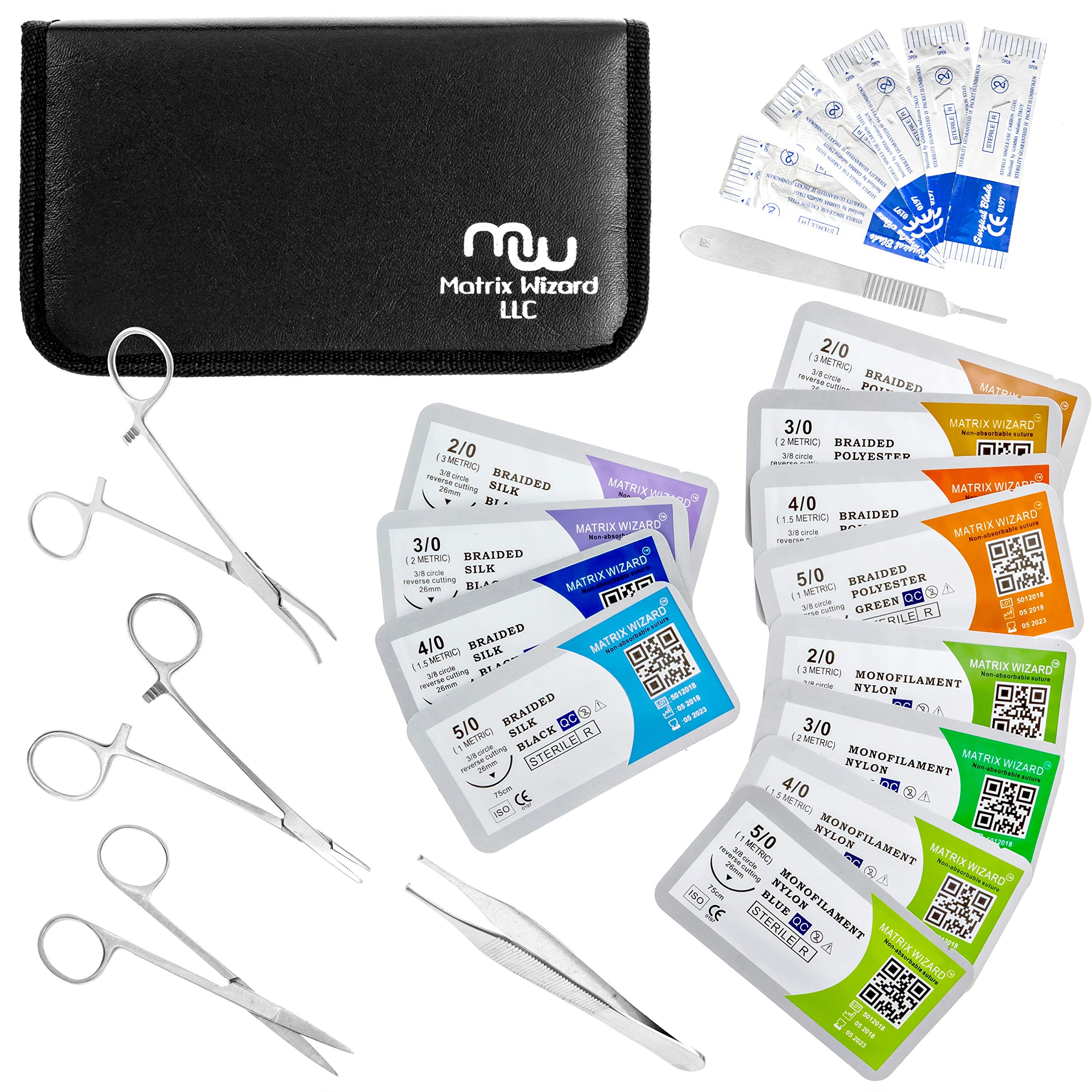 Suture Threads with Needle + Tools for Medical Student's Surgical Practice Suture Kit; Outdoor Camping Emergency Survival Demo; Hospital First Aid Training (Mixed 23Pk 2-0, 3-0, 4-0, 5-0)