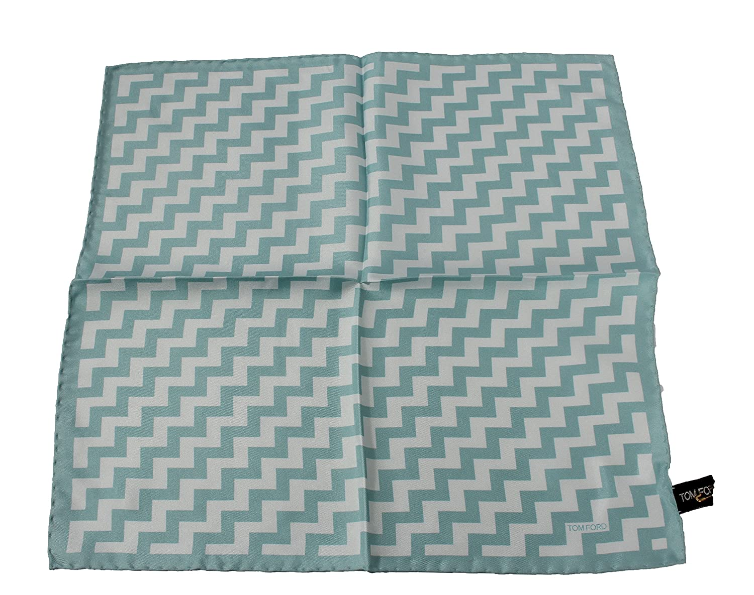 Tom Ford Pocket Square Pale Turquoise Zig Zag Design 100% Silk #Tf424