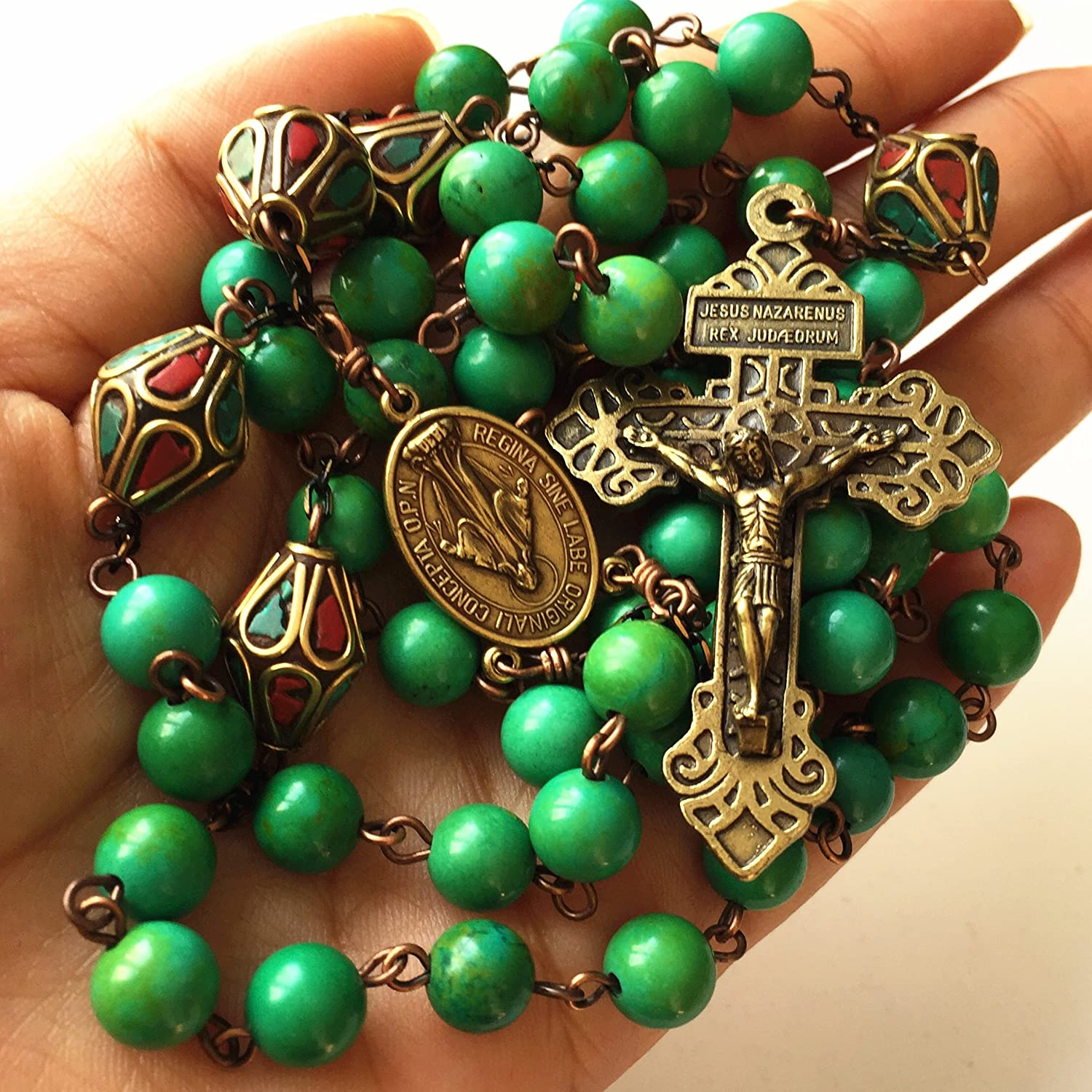 """24/"""" CHAIN A LOVELY TIBETAN SILVER CROSS//CRUCIFIX TURQUOISE BEAD NECKLACE"""
