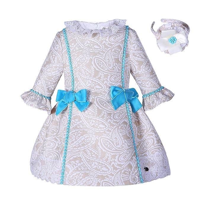 Lakinirr Niñas Vintage Paisley Jacquard Vestidos con Diademas de Flores, 2 años