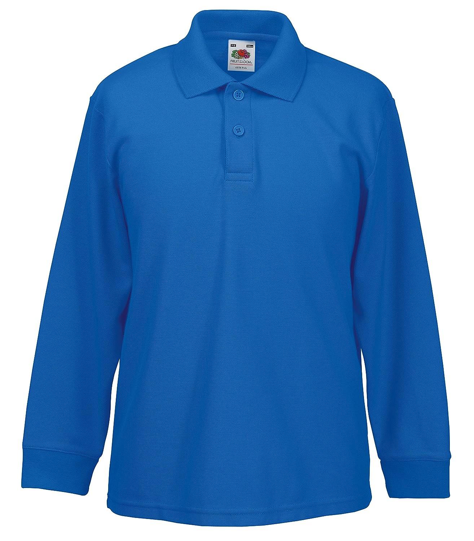 2ef6a898f Fruit of the Loom Kids Long Sleeve Pique Polo Shirt: Amazon.co.uk: Clothing