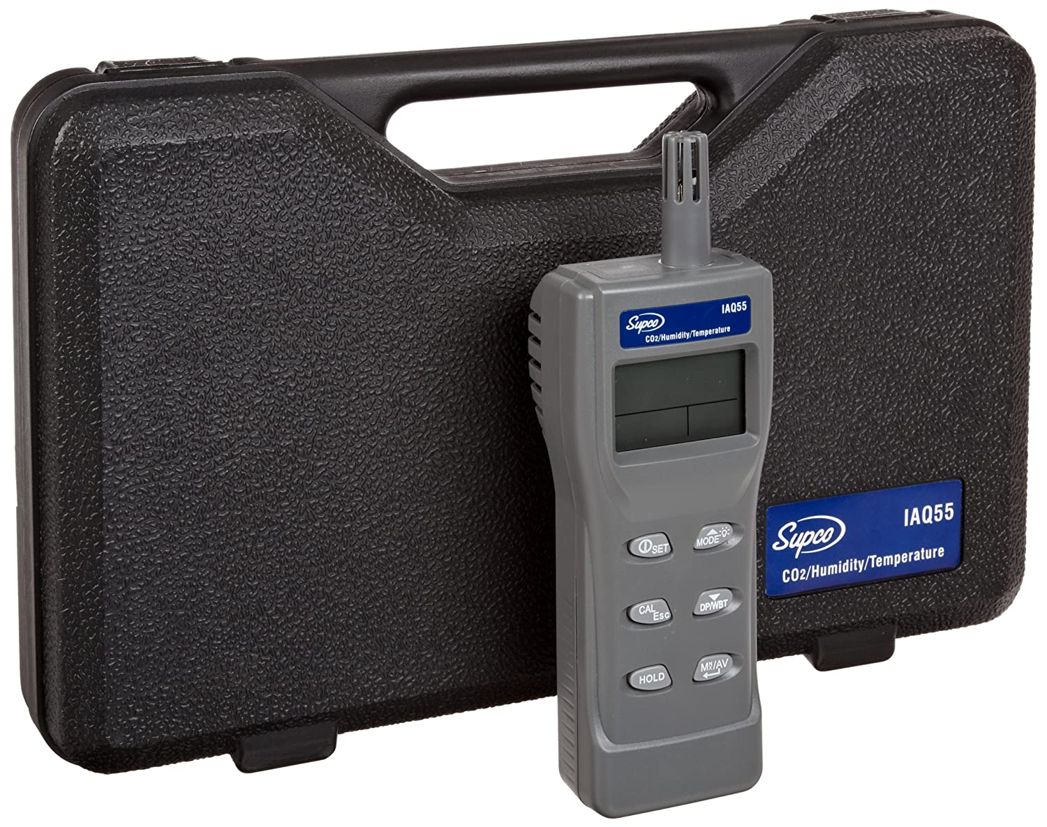 Supco IAQ55 Handheld Indoor Air Quality Monitor, 0 to 2000 Ppm, 1 Ppm Resolution, Plus/- 75 Ppm Accuracy -75 ppm Accuracy 12920