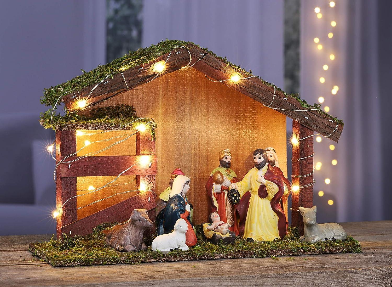 XL LED Krippe 30x10x20 cm mit 9 Figuren Kamaca Beleuchtete KRIPPE WEIHNACHTSKRIPPE mit 11 Figuren Krippe aus Holz handveredelt mit Moos verziert Winter Advent Weihnachten