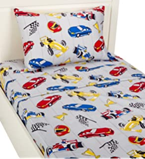 Ordinaire Twin Size Mk Collection 3pc Sheet Set Grey Racing Cars Teen/kids New