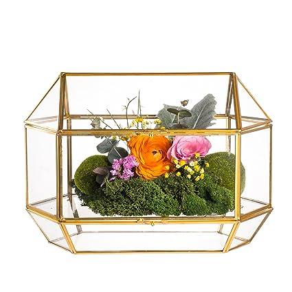 Amazon.com : Large Geometric Glass Wedding Card Box Keepsake Recipe ...