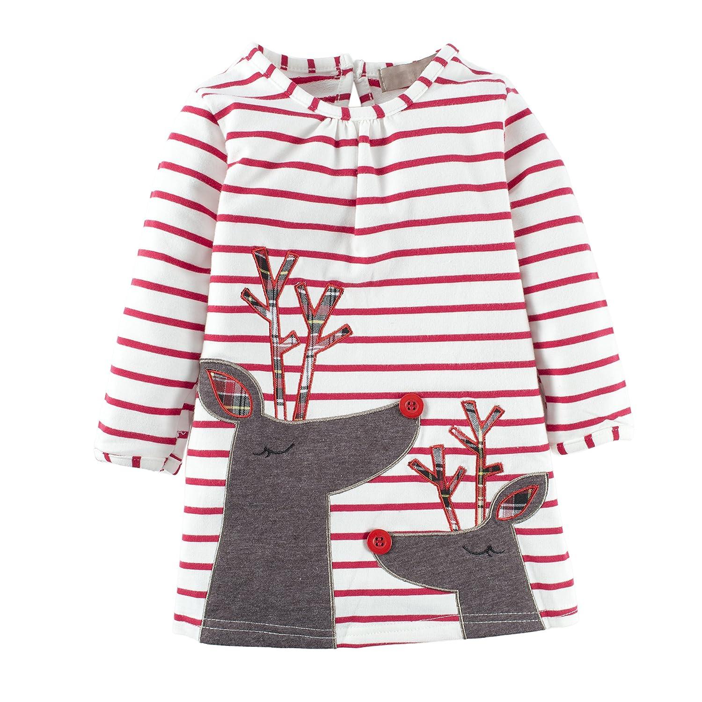 Big Elephant Baby Girls'1 Piece Long Sleeve Cute Deer Stripe Dress Clothes L67C
