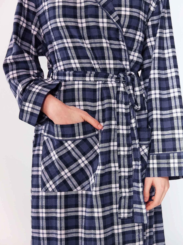 Soft Checked Bathrobes Sleepwear SIORO Flannel Cotton Dressing Gown for Women