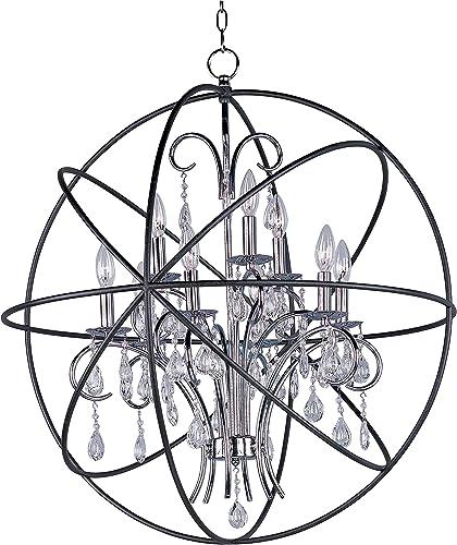 Maxim Lighting 25145ARPN Orbit – Nine Light Pendant, Anthracite Polished Nickel Finish