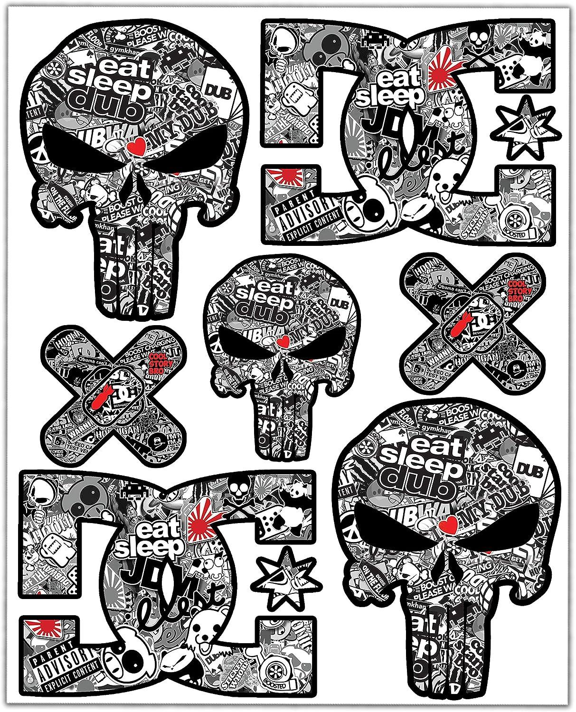 Biomar Labs/® 7 x Adesivi Set PVC Laminato Divertente Punisher Cranio DC Sticker Bomb per Auto Moto Finestr/ìno Porta Casco Scooter Skateboard Bici PC Laptop Tablet Tuning D 16