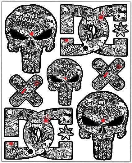 comprar Biomar Labs® 7pcs Pegatinas Punisher Calavera DC Sticker Stickerbomb Vinilo Adhesivo Coches Cascos Motos Ciclomotores Bicicletas Ordenador Portátil D 16