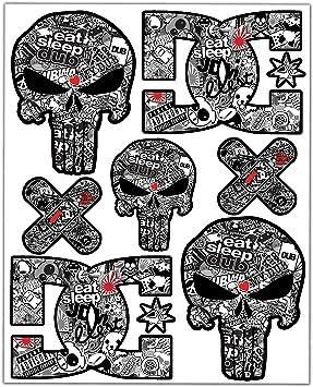 Biomar Labs® 7pcs Pegatinas Punisher Calavera DC Sticker ...