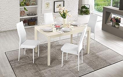 Dafne Italian Design Tavolo Allungabile Effetto Pino Chiaro Cm 110 X 70 X 75h Amazon It Casa E Cucina