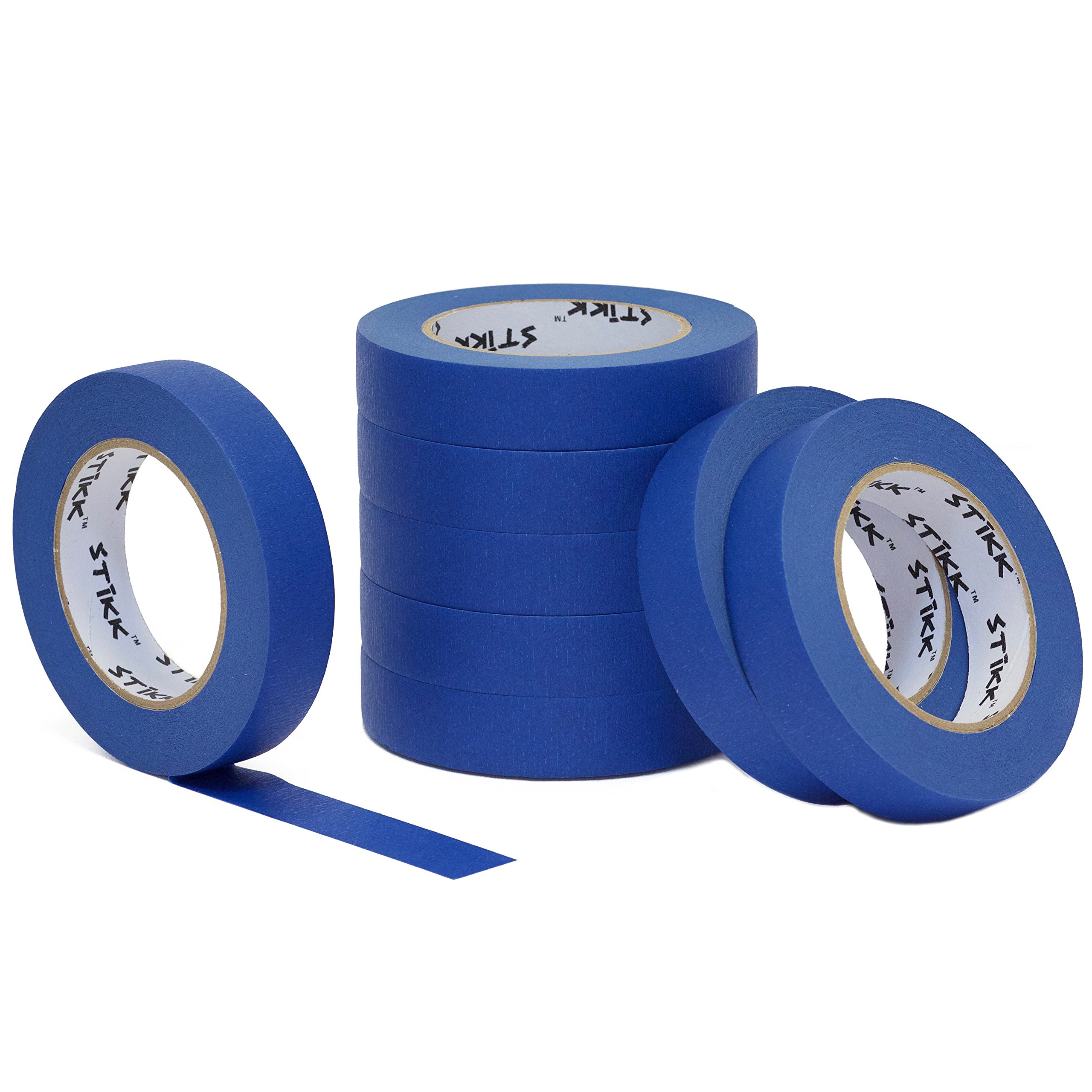 8pk 1'' x 60yd STIKK Blue Painters Tape 14 Day Clean Release Trim Edge Finishing Masking Tape (.94 IN 24MM) (8 Pack) by STIKK TAPE (Image #1)