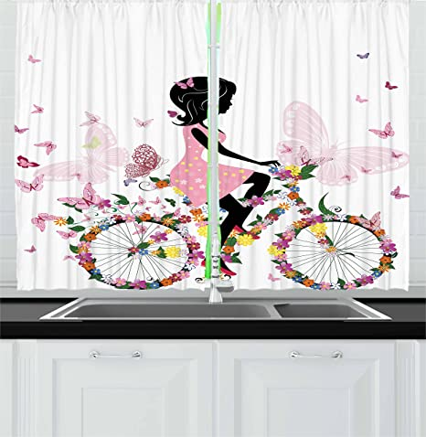 Ambesonne Bicycle Kitchen Curtains Girl In A Pink Dress Riding A Bike With Colorful Flowers And Romantic Butterflies Window Drapes 2 Panel Set For Kitchen Cafe Decor 55 X 39 Multicolor
