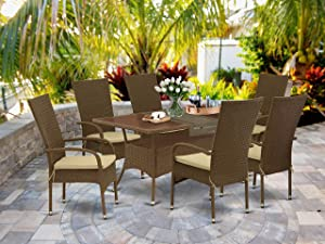 East West Furniture OSOS7-02A 7Pc Outdoor Brown Wicker Dining Set Includes a Patio Table and 6 Balcony Backyard Armchair with Linen Fabric Cushion, Medium