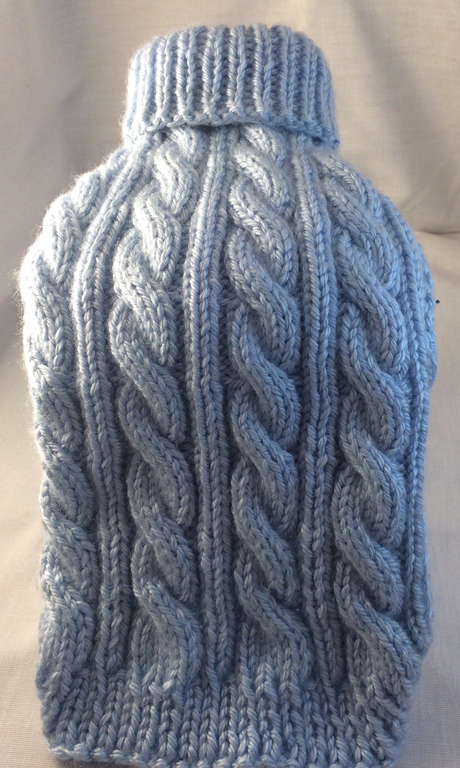 Hand knit cabled turtleneck, long sleeve pet sweater.