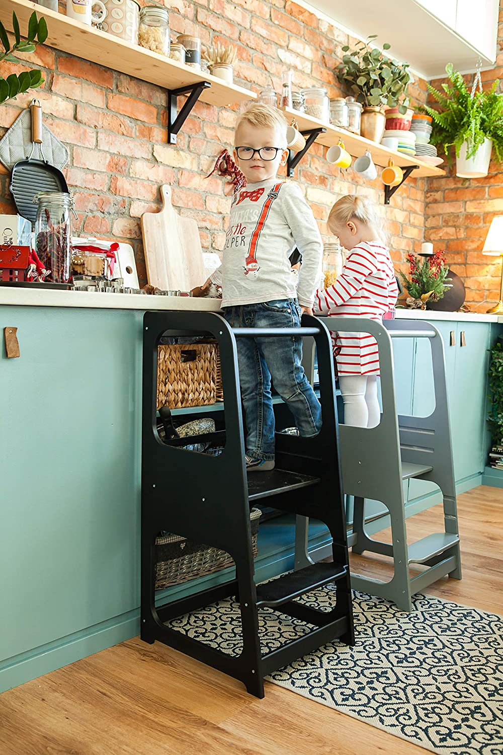 Grey Sweet Home From Wood Kitchen Helper Kitchen stool Safety stool Toddler step stool Kid Step Stool Activity tower Montessori tower Stepping stool