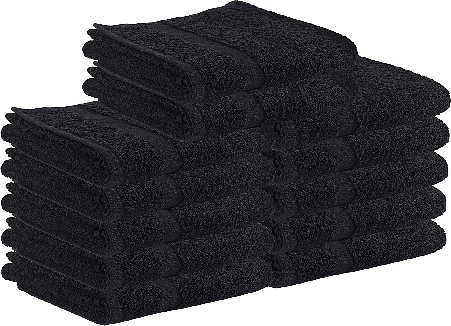 Utopia Towels Salon Towels, 24 Pack (Not Bleach Proof, 16 x 27 Inches, Black) Hand Towels, Gym Towels