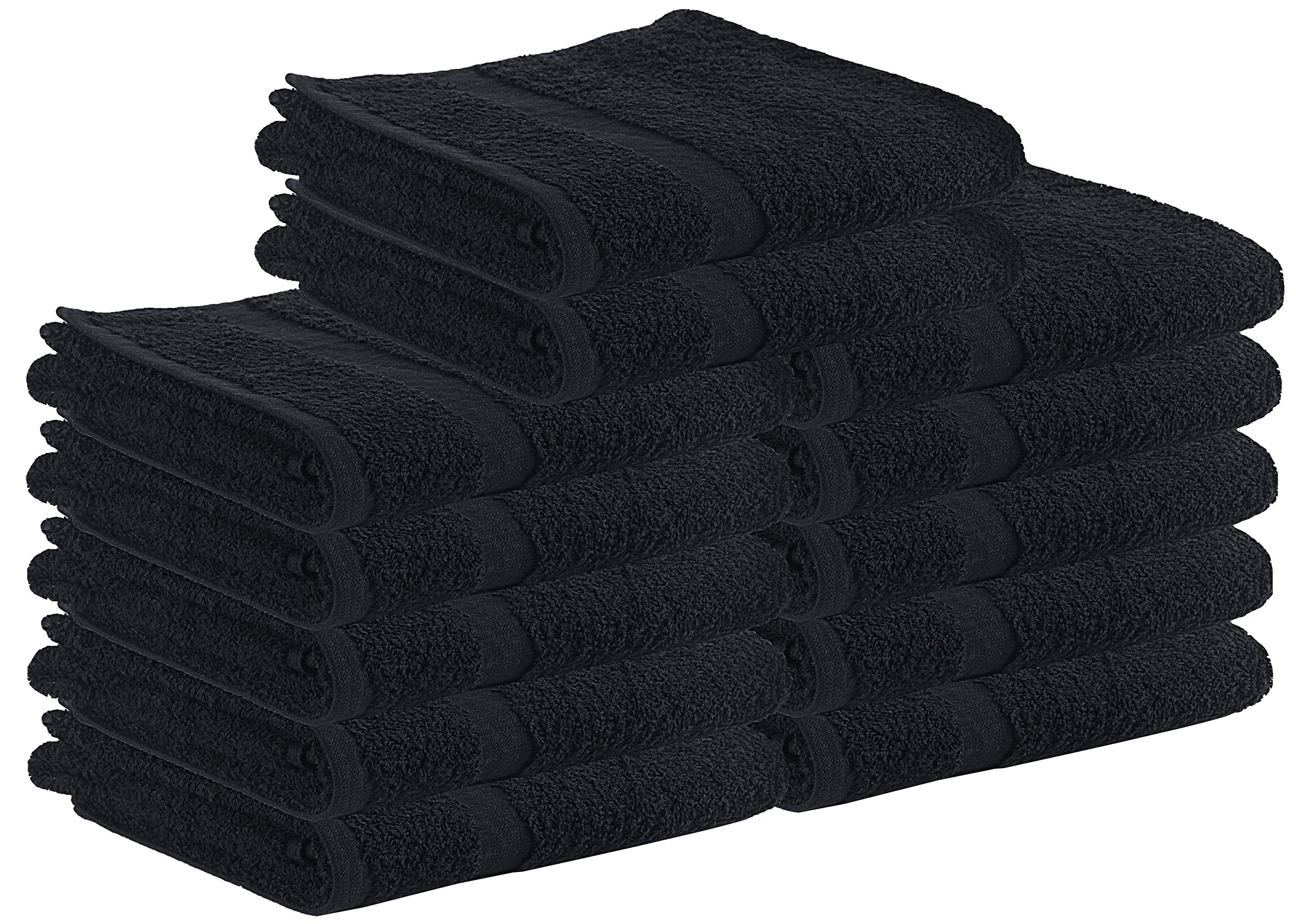 Cotton Salon Towels - Gym Towel - Hand Towel - (24-Pack, Black) - 16 inches x 27 inches - Not Bleach Proof - Ringspun-Cotton, Maximum Softness and Absorbency, Easy Care – by Utopia Towels
