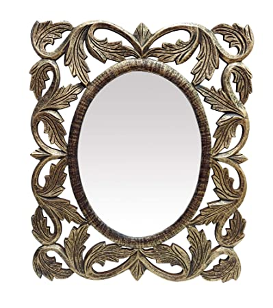 The Urban Store Decorative Hand Crafted Wooden Oval Shape Vanity Wall Mirror Glass for Living Room, Bathroom, Bedroom (24x20) Inches