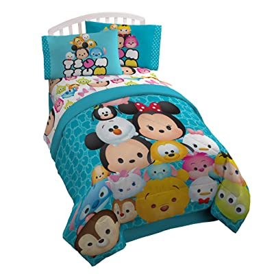 Disney Tsum Tsum 'Mash Up' Teal Twin/Full Reversible Comforter: Home & Kitchen