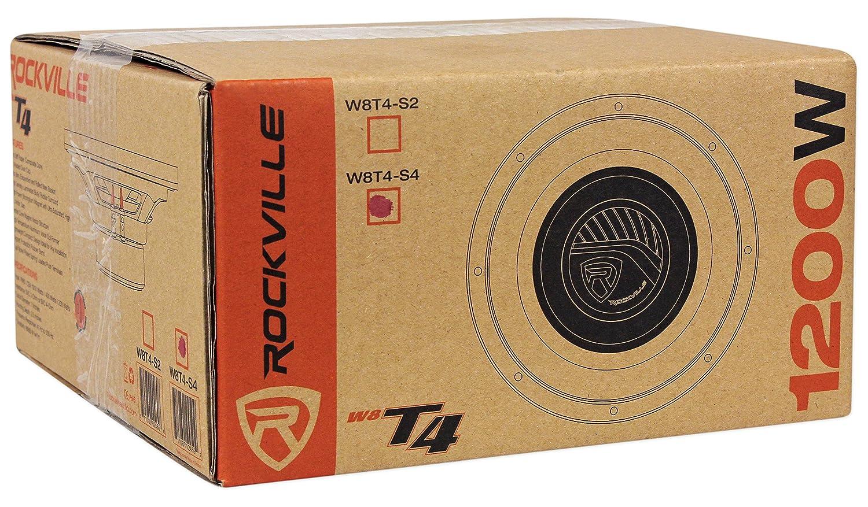 Rockville W8T4-S4 8 Shallow Mount 1000w Car Subwoofer CEA-2006 Compliant 4-Ohm Audiosavings W8T4S4