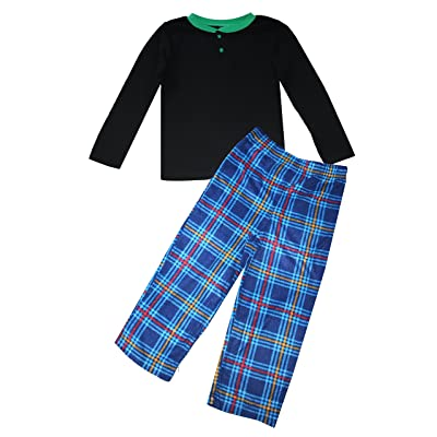 Komar Kids Big Boys Black Blue Jersey Flannel Sleep Set
