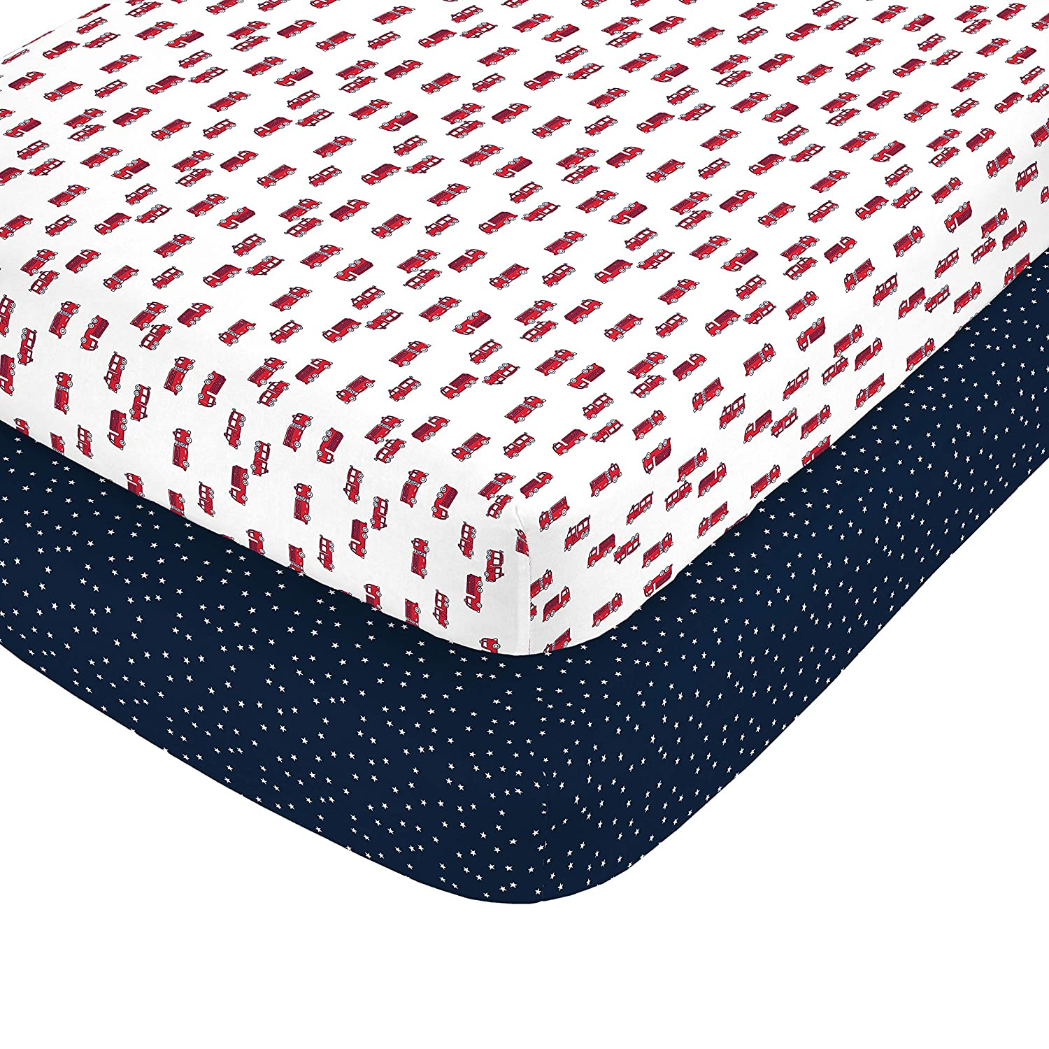 Carter's 100% Cotton Sateen 2 Piece Fitted Crib Sheets, Red/White/Navy