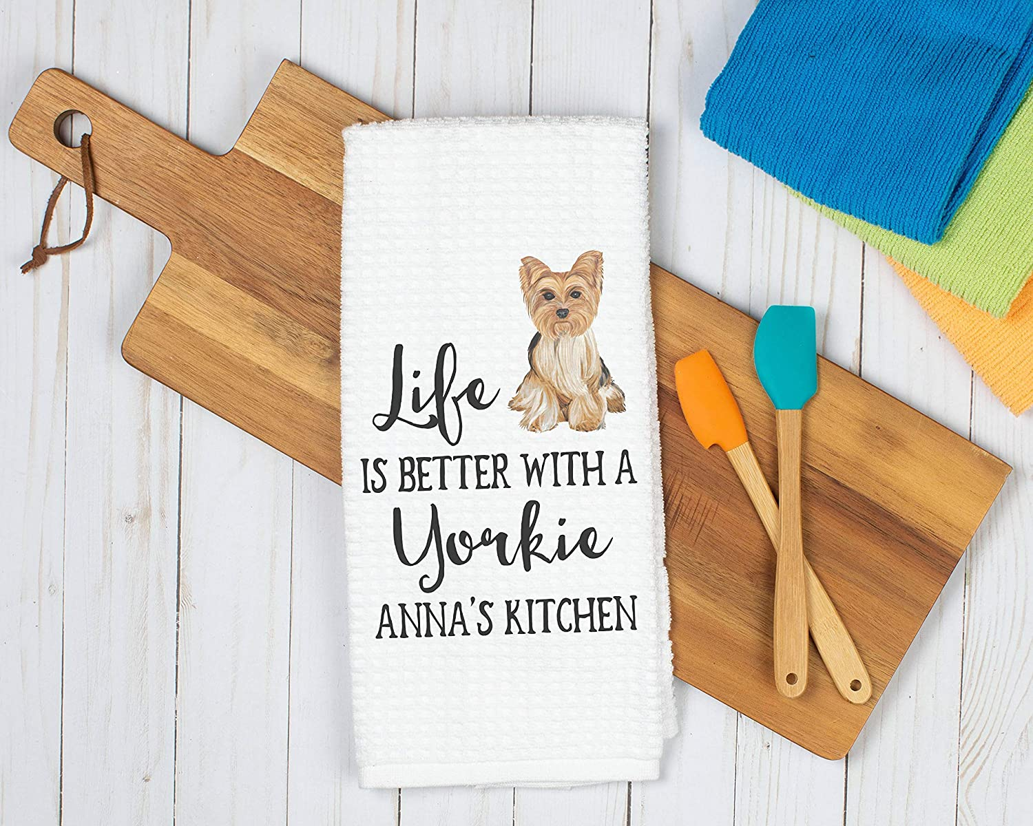 Yorkie Decor Life is Better With a Yorkie Kitchen Towel Dog Hand Towel Personalized Yorkie Tea Towel Yorkshire Terrior Owner Dog Lover Gift