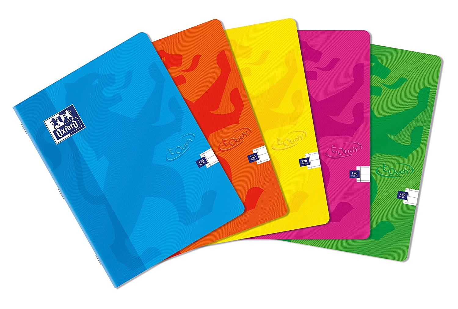Pack of 5 Oxford Touch A4 120 Page Softcover Stapled Notebook Assorted Colours