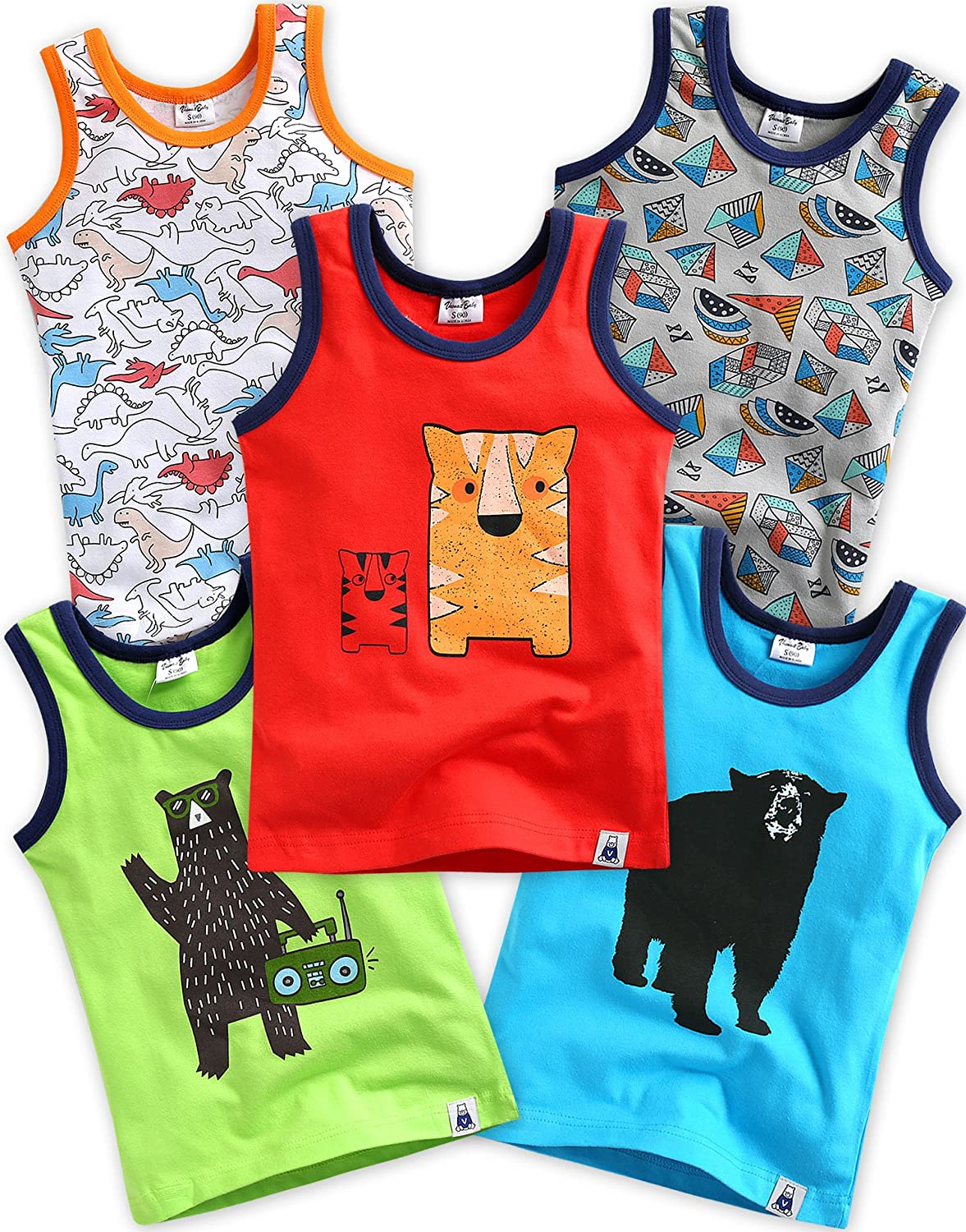 5 Pack Undershirts Jurassic/DJ Bear/Tiger Brother/Dancing Bear/Blue Dibo S BB_090-1