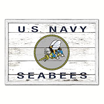 Seabees Military Flag Vintage Canvas Print with Picture Frame Home Decor Man Cav