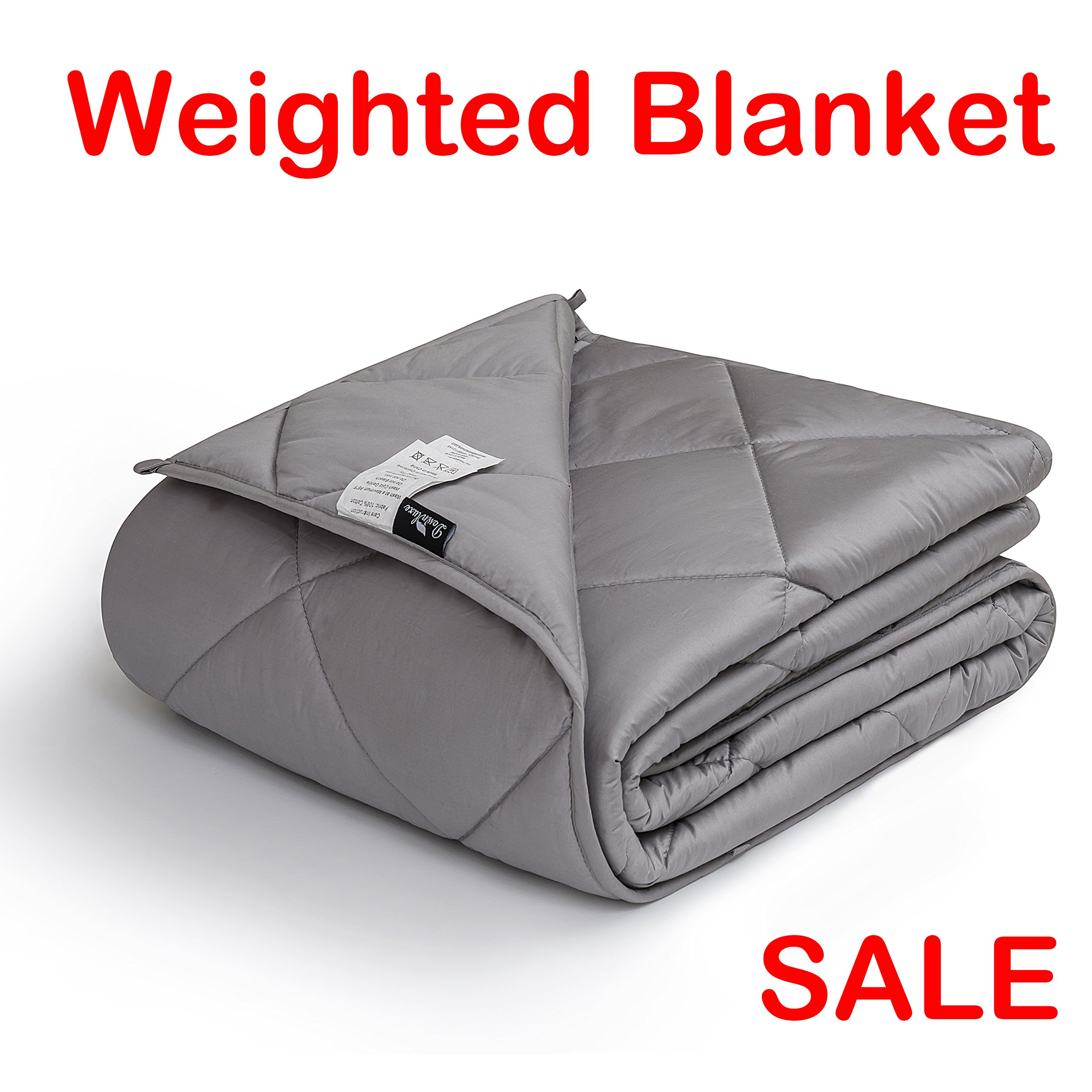 downluxe Weighted Blanket for Adult Woman and Man - Perfect for Anxiety, Autism, and Sensory Relief - Fits King Size Beds - Grey (60''x80'', 15 lbs)