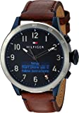 Tommy Hilfiger Men's 'Th 24/7' Quartz Stainless Steel and Leather Smart Watch, Color Brown (Model: 1791300)